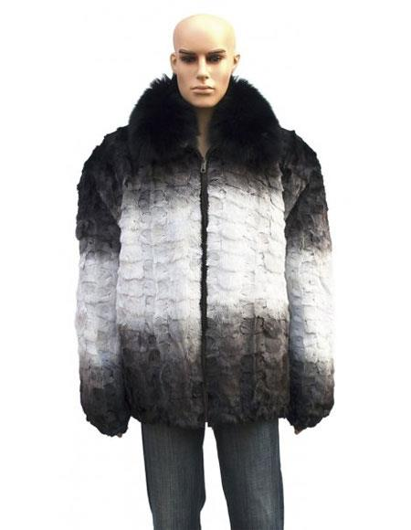 Mens Fur Black/White Pull Up Zipper Fox Collar Jacket