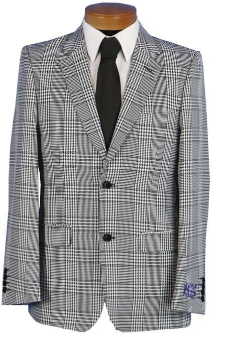 Sku Ss 9654 Blu Martini Men S Black White Glen Plaid Blazer