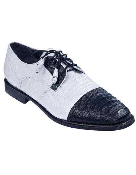 Mens Oxfords Style Genuine Caiman Belly And Teju Lizard Los Altos Oxford Shoes Perfect for Men Black White