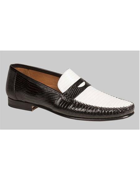 Buy GD510 Men's Sleek Black/White Lizard Penny Italian Style Handmade Shoes Authentic Mezlan Brand