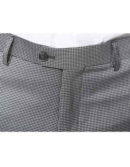 Mens Pleated Or Flat Front Houndstooth Checkered Tweed