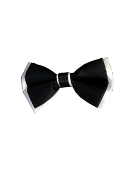 Mens Black/White Polyester Satin dual colors classic Bowtie