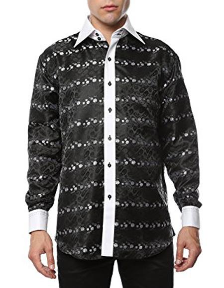 Black-White Shiny Satin Floral Spread Collar Paisley Dress Club Clubbing Clubwear Shirts Flashy Stage Colored Two Toned  Woven Casual Men's Dress Shirt