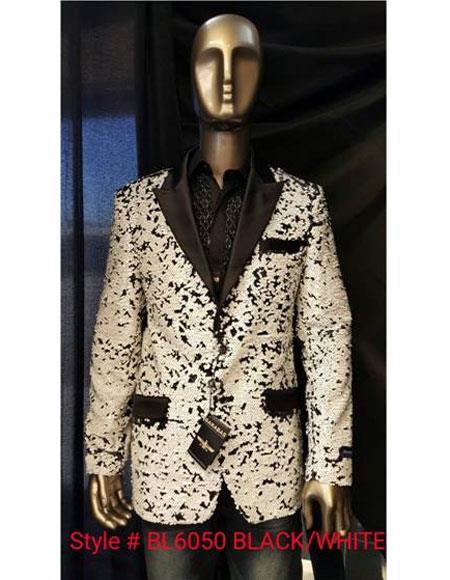 Men's Black ~ White Fashion Shiny Sequin Paisley Blazer Sport coat Tuxedo Jacket
