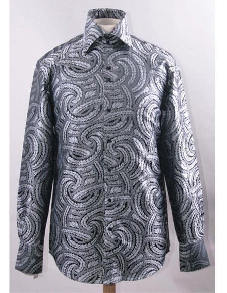 Men's High Collar Fashion ~ Shiny ~ Silky Fabric Black White Braid Swirl Pattern Club Clubbing Clubwear Club Clubbing Clubwear Shirts Night Club Outfit guys Wear For Men Clothing Fashion