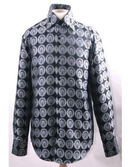 Men's Black/White High Collar Fashion ~ Shiny ~ Silky Fabric Pendant Design Club Clubbing Clubwear Shirts Night Club Outfit guys Wear For Men Clothing Fashion