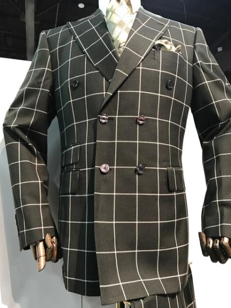 Men's Black and White Pattern Plaid ~ Windowpane Men's Double Breasted Suits Jacket Blazer ~ Sport Coat