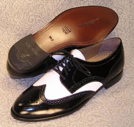 SKU# MLG510 (Black & White) Wing-tip five eyelet blucher with nappa. Leather sole