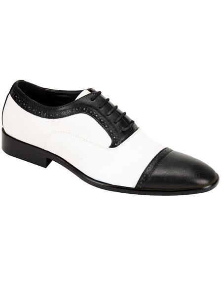 1950s Mens Shoes: Saddle Shoes, Boots, Greaser, Rockabilly Mens Stylish Black  White Casual Two Toned Dress Shoes Wingtip $85.00 AT vintagedancer.com