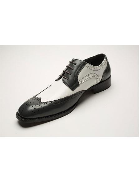 Mens Two Toned Lace Up Black ~ White Wingtip Four Eyelet Lacing Dress Oxford Shoes Perfect for Men