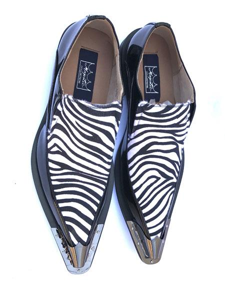 Men's Stylish Tiger ~ Zibra ~ Leopard - Animal Print Pattern Slip On Spat Black/White Dress Oxford Shoes Perfect for Men Wingtip Two Toned
