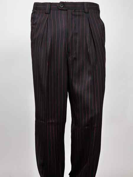 Men S Black Wide Leg Pleated Red Pinstripe Pant