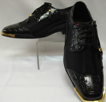 SKU#AF-485 Mens Cool Black Wingtip Style Satin Dress Shoes
