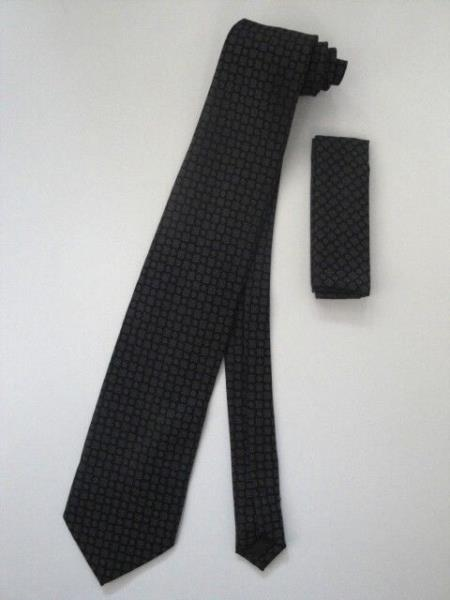 Neck Tie Set Black With Gray Design