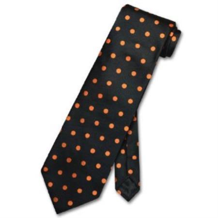 Black w/ Orange Polka Dots Design Mens Neck Tie