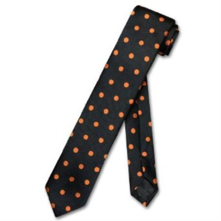 SKU#MR7298 Skinny Black w/ Orange Polka Dots Mens 2.5