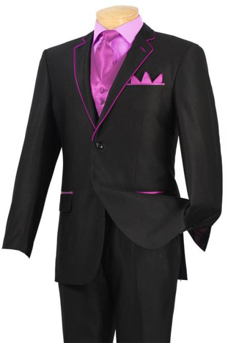 Buy PLO91 Tuxedo Black Pink Trim Microfiber Two Button Notch 5-Piece 7 days delivery