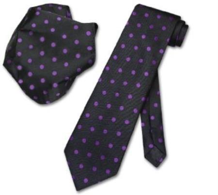 Black w/ Purple Polka Dots Necktie Handkerchief Matching Tie Set