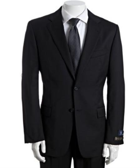 SKU# BER_TZ27 Mens Black Super 120s Wool 2-Button Suit With Single Pleated Pants