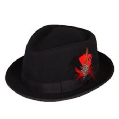 Mens Black Wool Fedora Hat