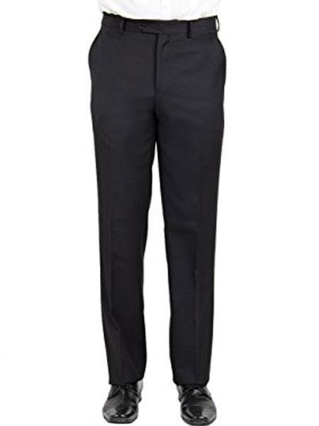 Black Mantoni Men's Wool Front Front Modern Fit Pant - Cheap Priced Dress Slacks For Men On Sale