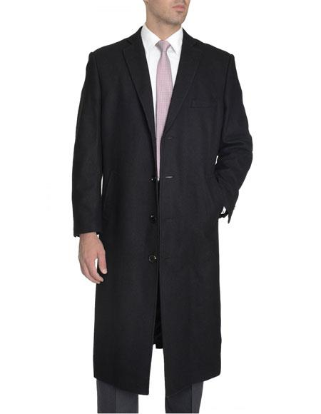 Mens Dress Coat 4 Buttons Single Breasted Full Length Wool Cashmere Blend Black Overcoat Top Coat