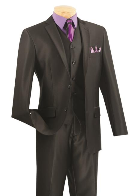 Mens 3 Piece Wool Feel Slim Fit Suit - Black