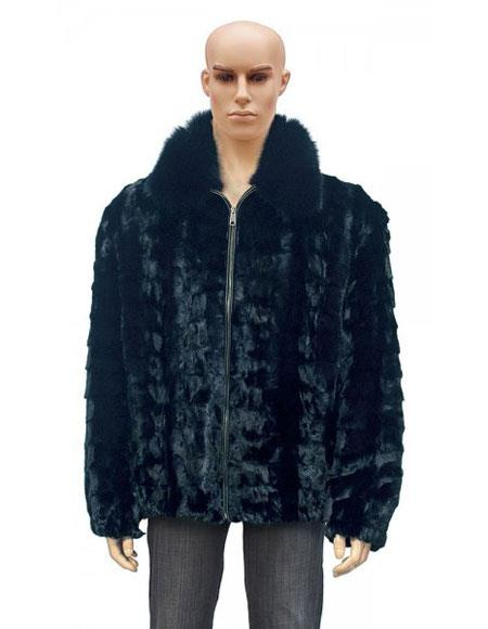 SKU#GD730 Mens Fur Black Pull Up Zipper Fox Collar Diamond Mink Jacket