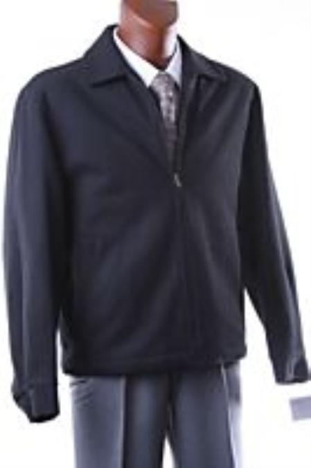 Buy KA1467 MEN'S BLACK ZIPPERED SHORT WINTER JACKET