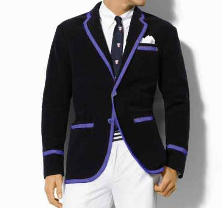 SKU#K2SQ Classic Velvet Black Blazer with Lavender Trimming