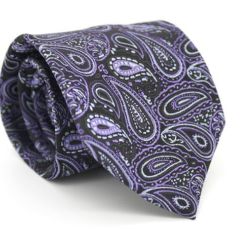 Slim Black & Purple Classic P A I S L E Y Necktie with Matching Handkerchief - Tie Set