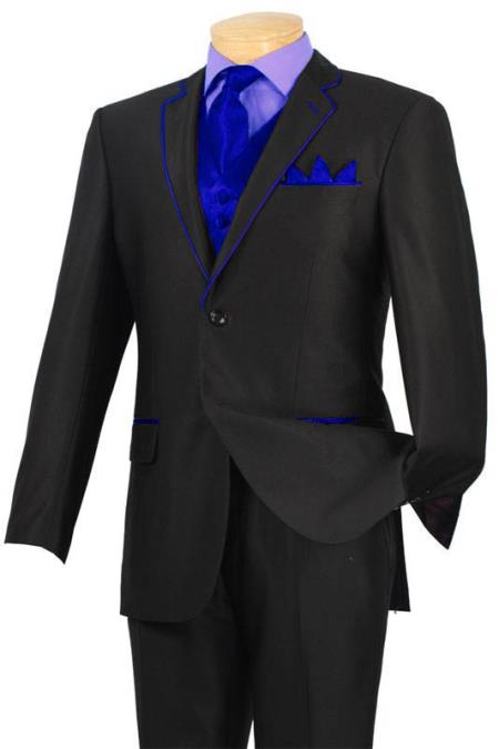 YBD3 Tuxedo Black Royal Blue Trim Microfiber Two Button Notch 5-Piece 7 days delivery
