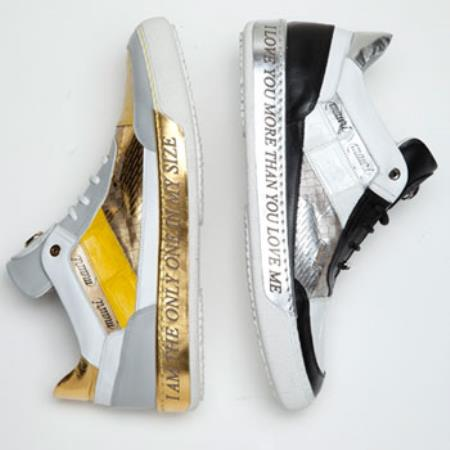 Buy PN-V73 8656 Express Nappa & Crocodile Sneakers Black/White Yellow/White