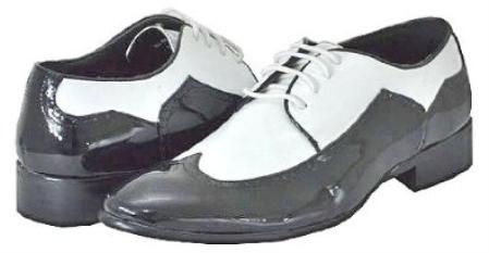 SKU#CN5277 Mens Black White Dress Shoes