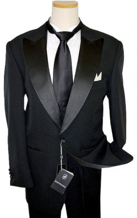 SKU#JH578 Black 100% Fine Polyester Tuxedo Suit With Double Breasted Satin Vest $125