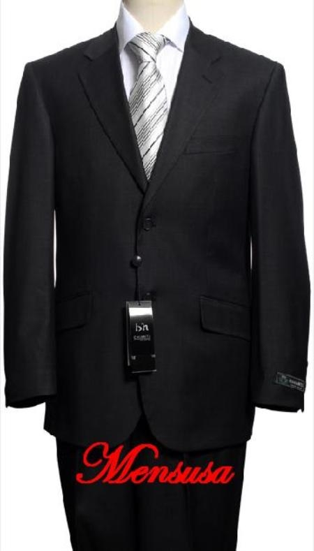 SKU# QKL146 Black %100 Soft New Generation 21 Centurry Niceest Cool Polyster/ Rayon 2-Button Suits $195