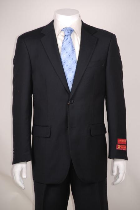 SKU#SD213 Black 2 Button Vented without pleat flat front Pants Wool $139