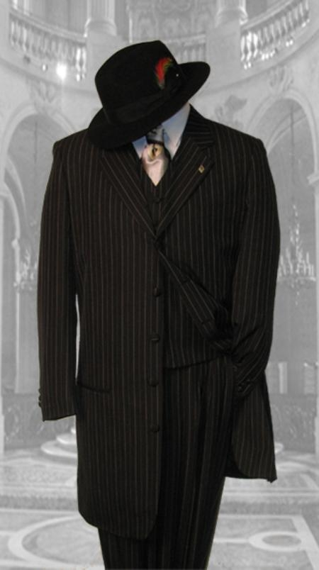 SKU#KL975 Black 3PC Pinstripe Fashion Zoot Suit