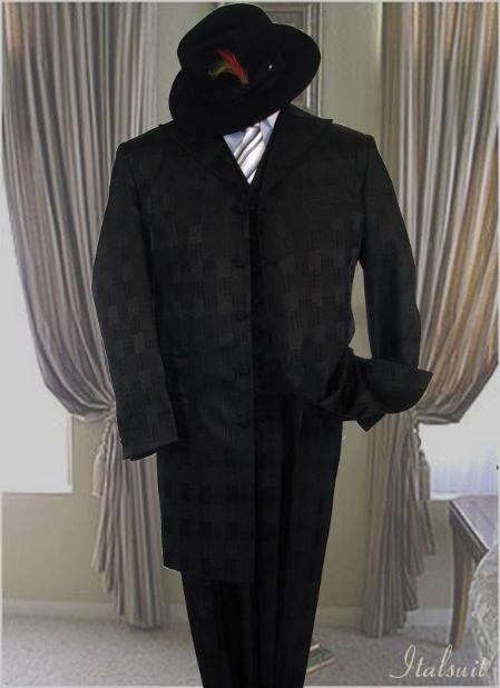 SKU# WR9589 Black 3PC Window Paine Fashion Zoot Suit With a Vest Hand Made $199