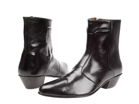 "SKU# : 2019 Black 6-1/2"" high demi-boot in Spanish kid skin with inside zipper and Cuban heel."