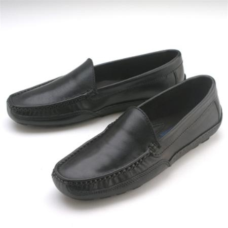 SKU# : 67022 Black A-line slip-on with tumbled leather. Leather sole.