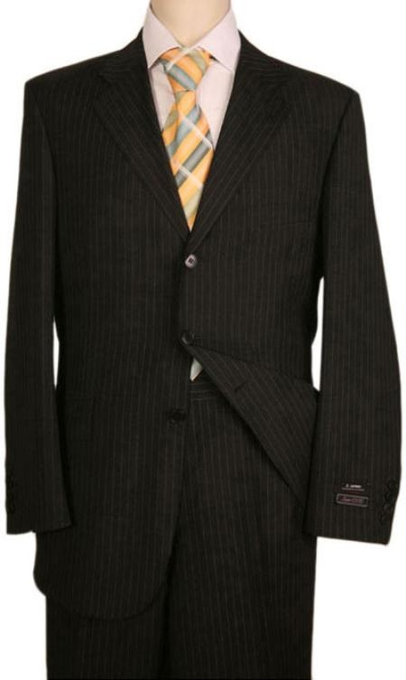 SKU# 9B3 Black Almost Very Dark Gray Wiht light Gray Pinstripe 100% Worsted Wool 3 Buttons Suits