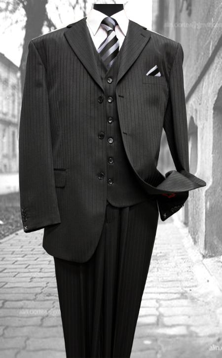 Retro Clothing for Men | Vintage Men's Fashion Classic Mens 3 Piece Suit Tone on Tone Black Stripe Cheap $149.00 AT vintagedancer.com