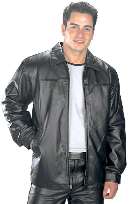 SKU#ST607 Black Classic Hip Length Zipper Leather Jacket $199