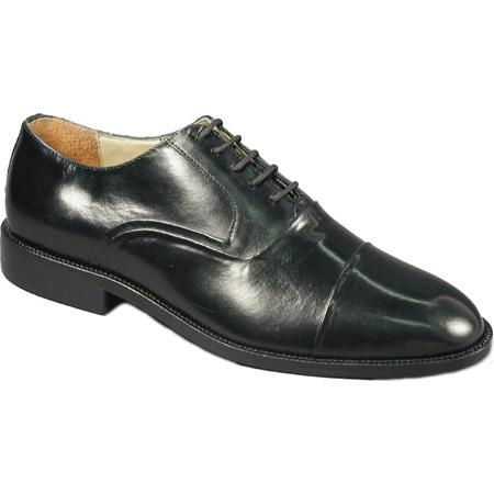 SKU# 65444 Black Classic cap-toe lace-up in hand-finished leather with genuine leather sole $99