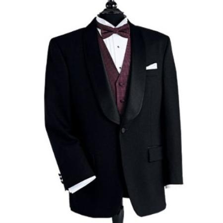 SKU#YK713 Black Dinner Jacket 100% Poly 1 Button Shawl Collar
