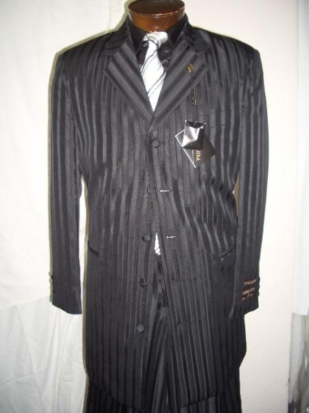 SKU# YRS987 Black Gangster Ton On Ton Shadow Pinstripe Fashion Long Zoot Suit $139