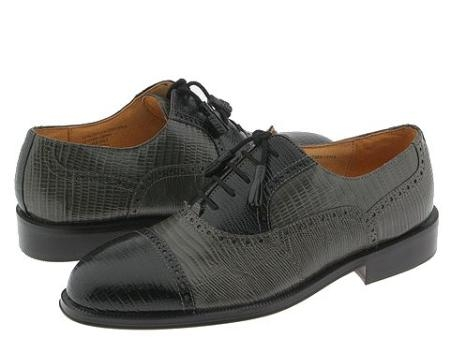SKU# :81209 Black&Gray Captoe five eyelet bal oxford with lizard print. Leather sole