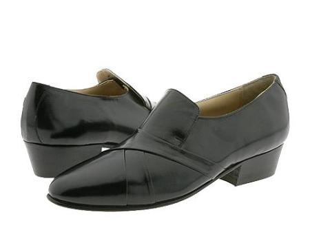 SKU# GGJ624 Black Hand-pleated vamp slipon with center gore in kid skin upper. $99