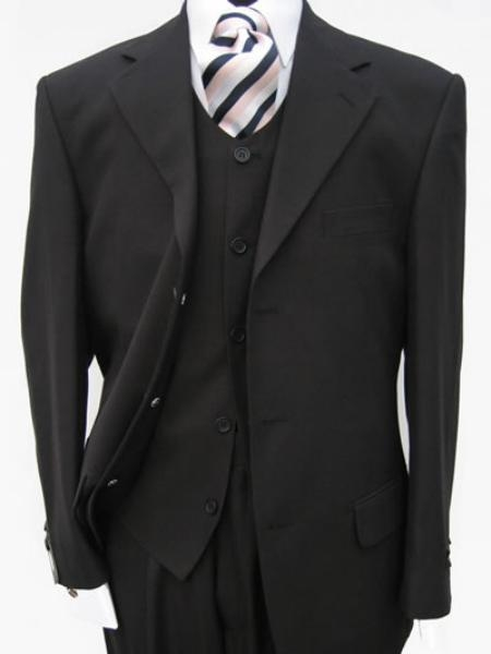 SKU# NGE609 Black Italian 3 pieces Suits mens dress premier quality italian fabric Dress Suits Super 150's Wool Side Vents